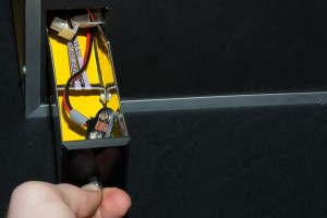 The Bee - Spring-loaded Battery Drawer (opened)